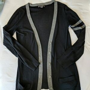 Black and gray varsity sweater